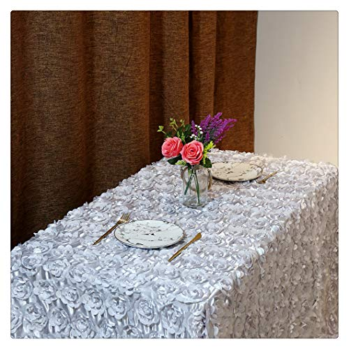 QueenDream Rosette Fabric 3D Rose Flower 50x80Inch Silver Tablecloth for Party ()