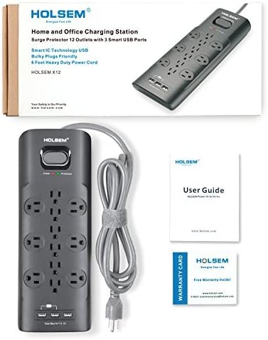 HOLSEM 12 Outlets Surge Protector Power Strip with 3 Smart USB Charging Ports (5V/3.1A) and 6' Heavy Duty Extension Cord, Black