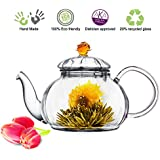 Blooming Tea Glass Teapot with Infuser Amber Juliet, 20oz/590ml Non-drip Lead Free