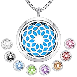 Essential Oil Diffuser Aromatherapy Necklace,Stainless Steel Magnetic Locket Pendant Necklaces with 26″ Chain and 8 Color Pads,Girls Women Jewelry Gift Set