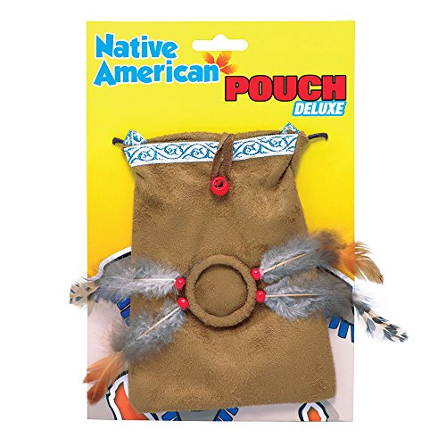Brown Feathered Indian Pouch (Indian Costumes Pouch)