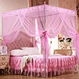 Bluelans 4 Corner Post Bed Canopy Mosquito Net, Netting Bedding, Twin/Full/Queen/King, Pink