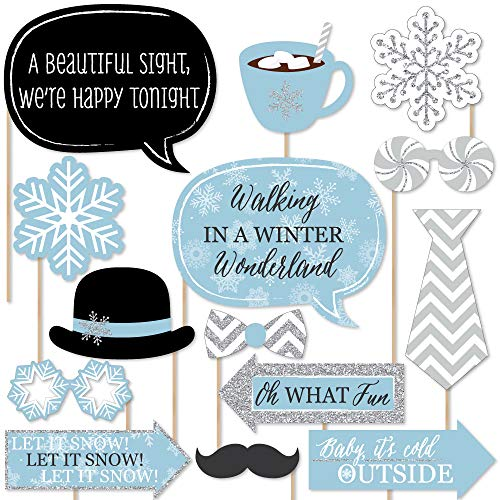 Big Dot of Happiness Winter Wonderland - Snowflake Holiday Party & Winter Wedding Photo Booth Props Kit - 20 Count
