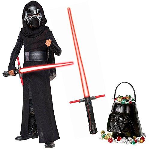 Star Wars Episode VIII: The Last Jedi - Kylo Ren Deluxe Child Costume and Lightsaber Bundle - Medium -