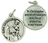 Religious Gifts Silver Toned Base Saint Christopher Medal with Prayer Protection Pendant, 3/4 Inch