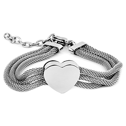 (ELYA Jewelry Womens Stainless Steel Triple Mesh Strands Polished Heart Chain Charm Bracelet, 7.5-Inch, White)