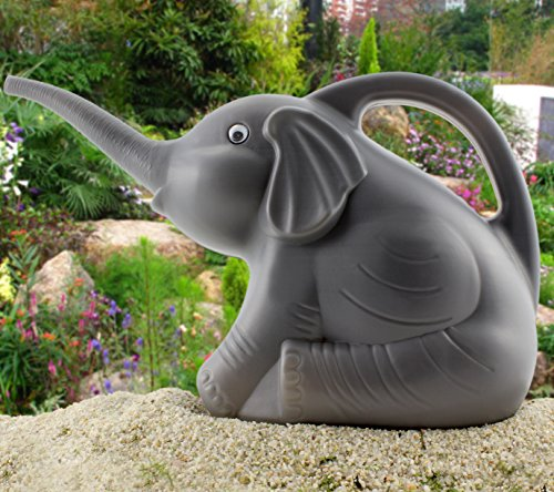 elephant watering can w   real eyes  grey with googly eyes  fully functional novelty watering can