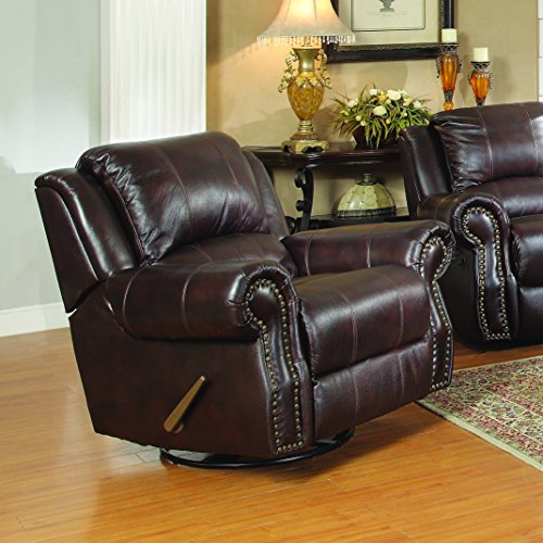Upholstered Rocker Brown (Coaster Home Furnishings Sir Rawlinson Upholstered Swivel Rocker Recliner Dark Brown)