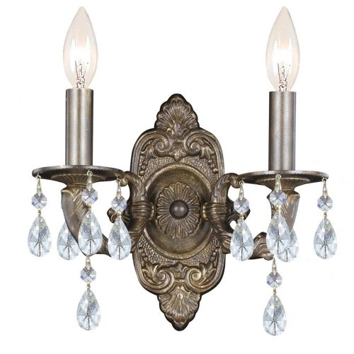 Crystorama 5022-VB-CL-MWP Crystal Accents Two Light Sconces from Sutton collection in Bronze/Darkfinish, 5.50 (Paris Flea 2 Light Sconce)