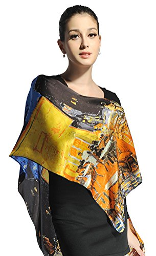 Women-Luxurious-Charmeuse-Silk-Van-Goghs-Irises-Beautiful-Long-ScarfRed