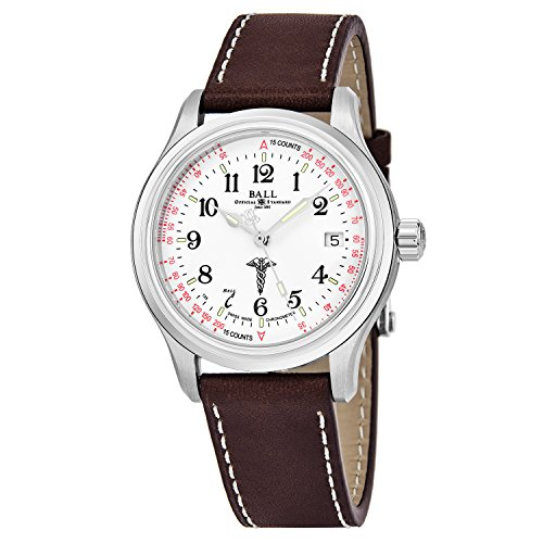 Ball Trainmaster Caduceus White Face Date Swiss Automatic Mens Brown Leather Strap Watch NM1038D-L2CJ-WH