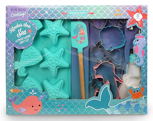 Kids Holiday Apron Set - Handstand Kitchen Under the Sea 15-piece Ultimate Mermaid and Sea Life Baking Party with Recipes for Kids