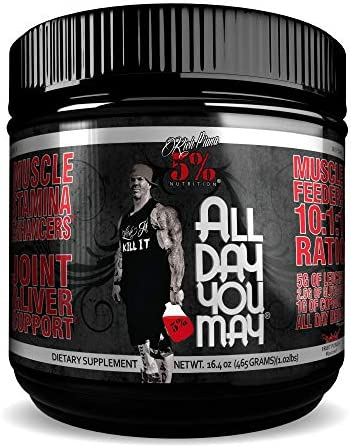 Rich Piana 5 Nutrition All Day You May BCAA Joint Recovery Drink Fruit Punch 17.2oz 465g 30 Servings