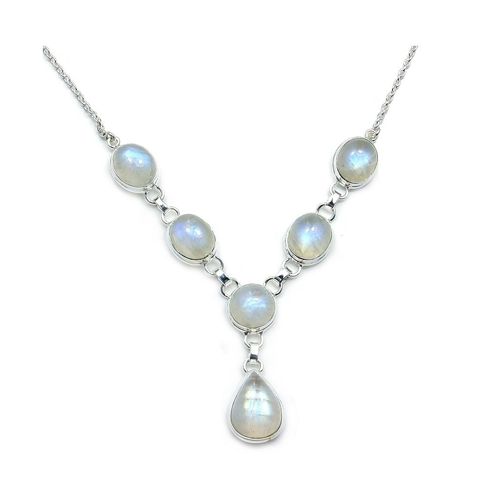 'Dreams and Whispers' Sterling Silver Moonstone Necklace by The Silver Plaza