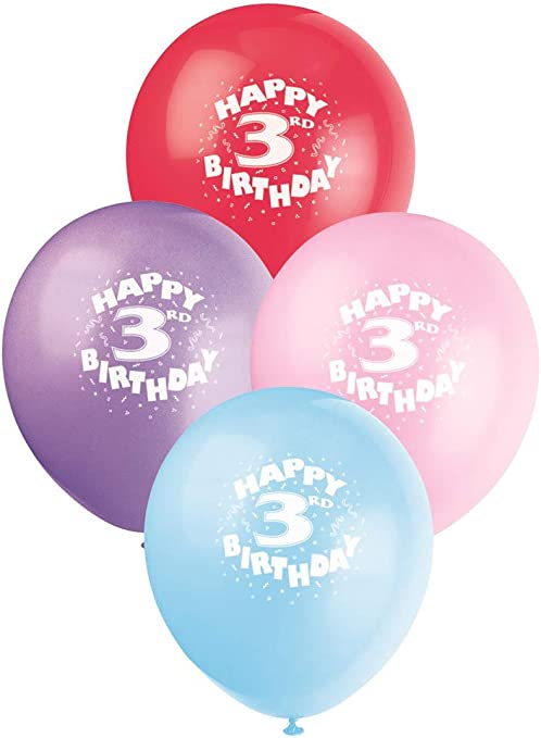 Assorted Colours 10 HAPPY 3RD BIRTHDAY AIR FILL BALLOONS