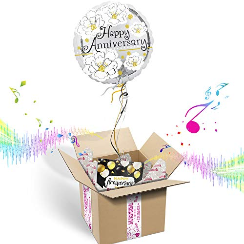 Happy Anniversary INFLATED Helium Balloon Gift Package | Includes Coordinating Customizable Greeting Card | Floats Out of The Box and Plays a Happy Jingle When Opened