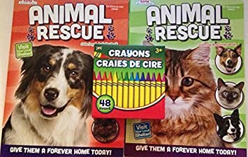 Animal Rescue Coloring Books With 48 Crayon Bundle