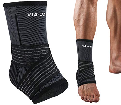Ankle Brace, Via Jay Breathable Compression Sleeve with Adjustable Wrap, 4 Sizes, for Sports, Injury, Recovery (1 Piece) (X-Large)