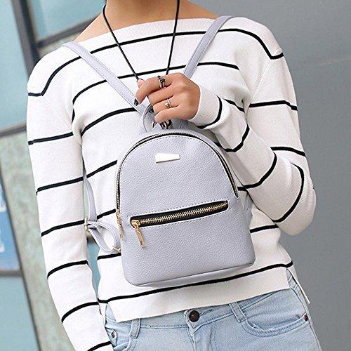 0ee6684f0c41 ❤️ Sunbona Schoolbag Women Leather Backpack School Rucksack College  Shoulder Satchel Travel Bag Shoulder School Bag (Gray)