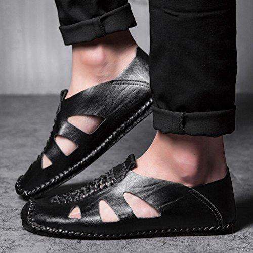 Loafers Faux de en Chaussons Pantoufles Cuir Homme de Plates Été Mocassins Casual LINNUO Chaussures Sandales Bateau Noir Été Conduite xwZnP8ER