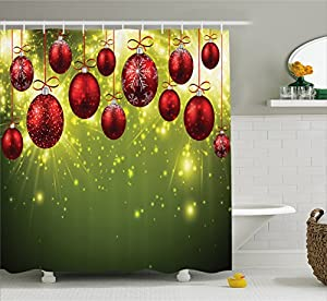 christmas decorations shower curtain set by ambesonne vibrant new year design with psychedelic digital light effects print and baubles