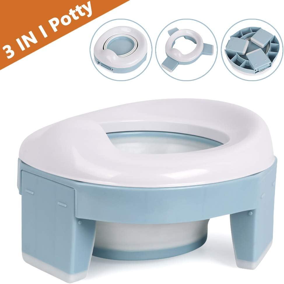 Azul Asiento Inodoro Plegable para Ni/ños 3 in 1 Orinal Port/átil Reductor WC para Beb/é con Piezas a Prueba de Salpicaduras Adaptador pare Casa y Viaje
