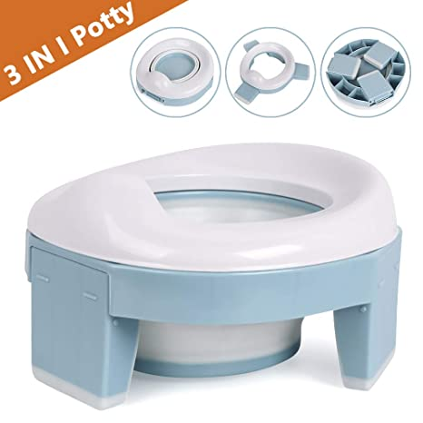 Potty Training Toilet Chairs 3-in-1 Travel Potty Seat Trainer Portable Foldable WC Trainer Ring Seats Detachable Reusable Liner Suitable for Toddler Boys Girls with Splash Guard Easy to Clean Blue