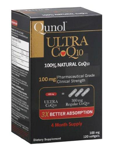 Qunol Ultra CoQ10 - 100% Soluble CoQ10 100 mg - 3X meilleure absorption Coenzyme Q10 - 120 gélules (4 mois d'approvisionnement)