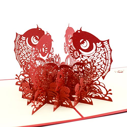 Magic Ants 3D Goldfish Chinese New Year Greeting Cards Pop Up - Envelopes and Seal Sticker Included - Laser Cut Invitations - Handmade Creative Festival Gifts Card