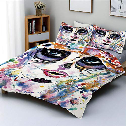 Duplex Print Duvet Cover Set Queen Size,Halloween Girl with Sugar Skull Makeup Watercolor Painting Style Creepy DecorativeDecorative 3 Piece Bedding Set with 2 Pillow Sham,Multicolor,Best Gift For -