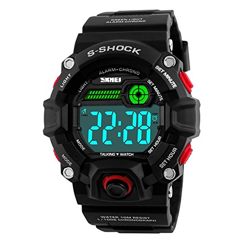 Men Outdoor English Talking Watch LED Digital Military Wristwatch with Silicone Band Voice Broadcast Time Watches-red