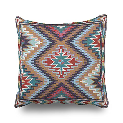 HeroWoW Throw Pillow Covers Colorful Mosaic Oriental Kilim Rug Traditional...