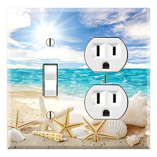Graphics Wallplates - Seashells Ocean White Sand Beach- Toggle Outlet Combo Wall Plate Cover
