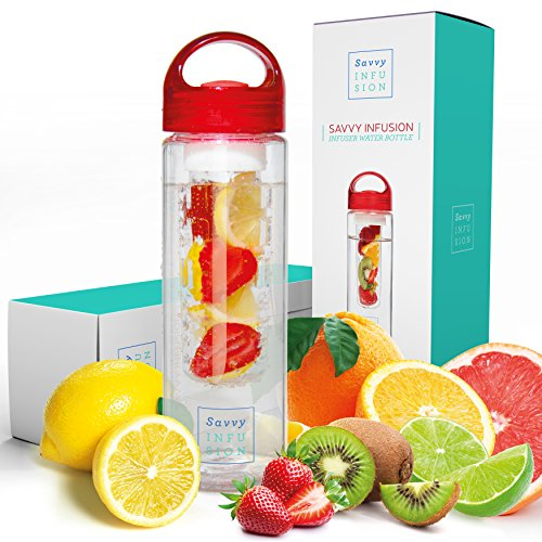 Savvy Infusion Water Bottle - 24 or 32 Ounce - Featuring Unique Leak-Proof Siliconed Sealed Cap w/ Handle - Includes Bonus Recipe Ebook