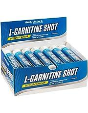 Body Attack L-Carnitin Shot, lekkere 1000 mg L-carnitine in vloeibare vorm, gepatenteerde CarnipureTM Lonza, extra portie vitamine C, veganistische pre-workout shot, Made in Germany- 20 x 25 ml (citrus)