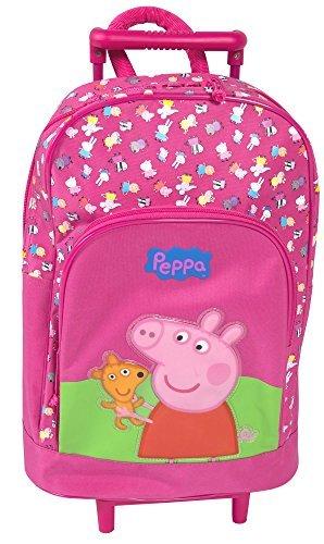 Peppa Pig Oficial Bolsa con ruedas niña Fucsia para Viaje Mochila/Mochila Telescópico asa &