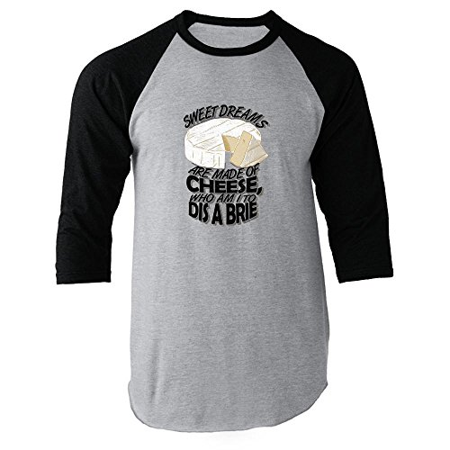 Sweet Dreams Are Made of Cheese. Black XL Raglan Jersey T-Shirt (Brie Sweet)
