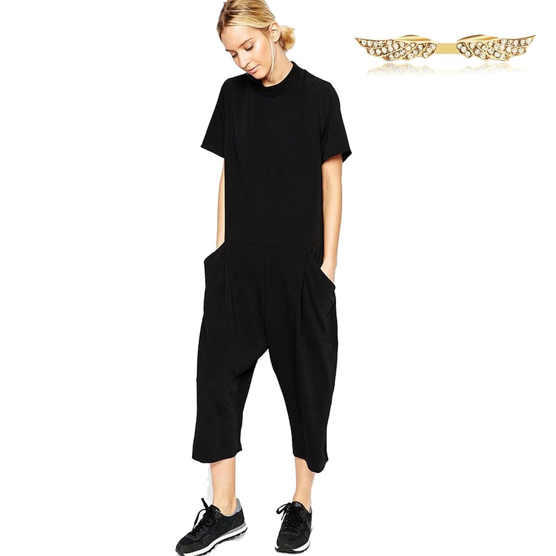 Angelwing Damen Jumpsuit Romper Lose 3/4 Jumpsuits Playsuits mit Seitentasche Spielanzug Overall Kurzarm Hose Party Clubwear Feder Sommer