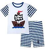 A&J Design Little Boys Pirate Pajamas Short Summer Pjs Clothes Sets (5, Blue)