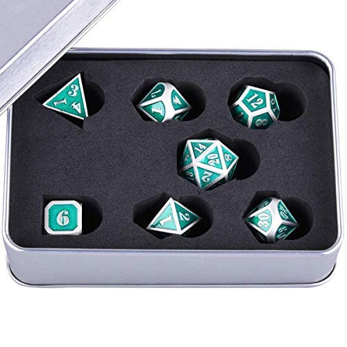 SIQUK Metal Polyhedral Dice 7-Die Dice Shiny Silver Border with Green Enamel Body Zinc Alloy Dice with Metal Case, Role Playing Game Dice for Dungeons and Dragons RPG Dice Gaming D&D and Math Teaching