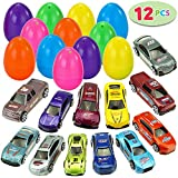 12 Die-Cast Car Filled Big Easter Eggs, 3.2' Bright Colorful Prefilled Plastic Easter Eggs with Different Die-cast Cars
