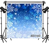 LB Snowflake Christmas Backdrop 10x10ft Vinyl Blue Snowy Winter Photo Backdrops for Xmas Eve Home Party Pictures Customized Photo Studio Background Props