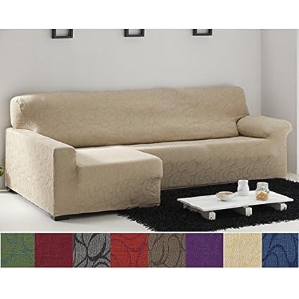 Funda Chaise Longue Elástica Modelo Osezno, Color Cardenal, Medida Brazo IZQUIERDO – 240-280cm (Mirándolo de frente)