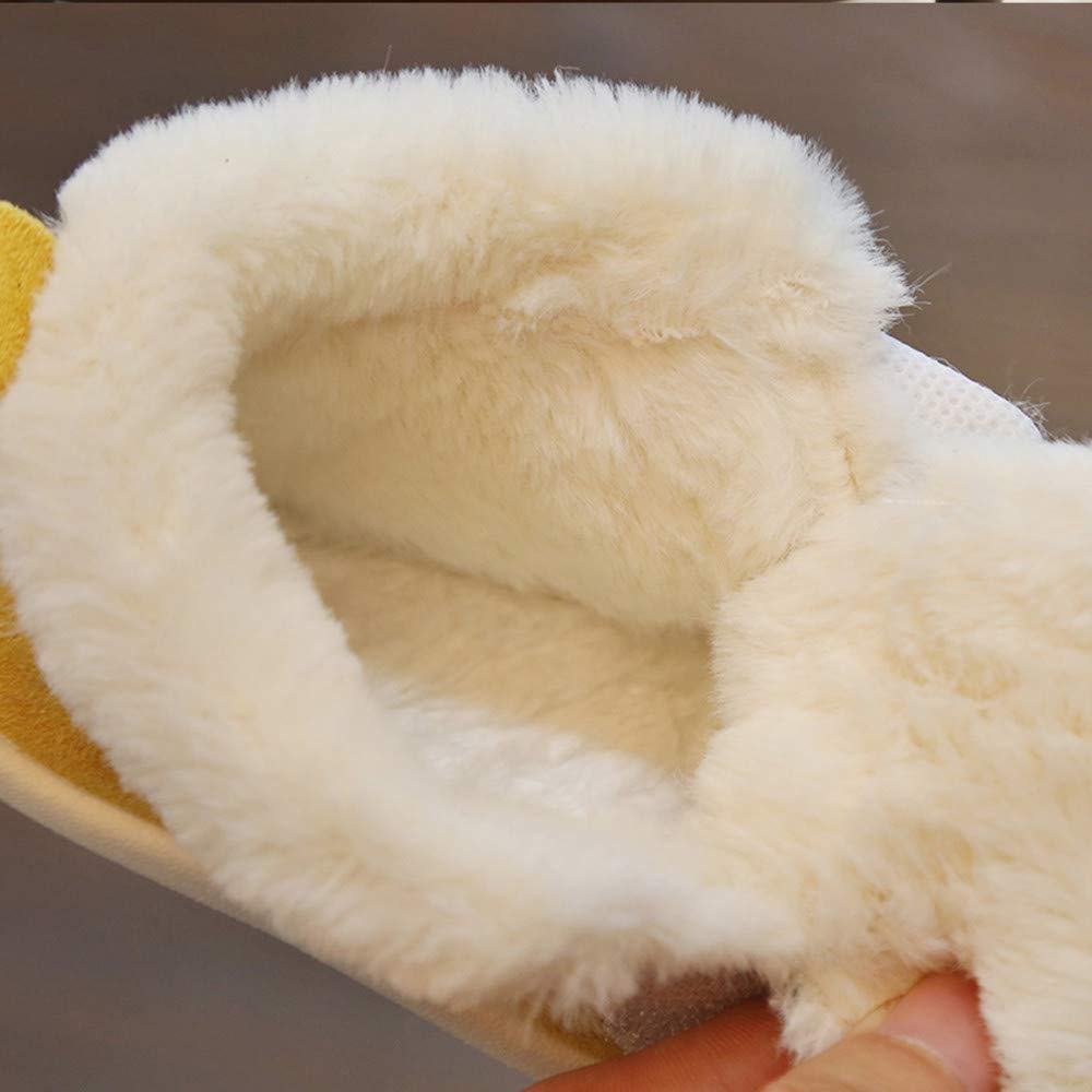 Infant Sneaker for Baby Boy Girl Lightweight Fur Warm Winter Shoes 0-3Years Age:0-3 Months, Yellow