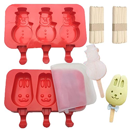 Phishinno Ice Cream Molds with Lid, 2 Pack Cartoon Cute Silicone DIY Handmade Ice Cream Bar Maker Popsicle Molds with 100Pcs Wooden Sticks ()