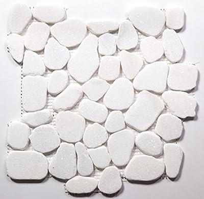 White Jade Flat Natural River Rock Pebble Tile / Sample