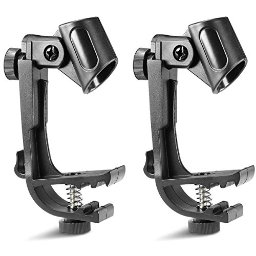 OULII Microphone Clip Clamps Holder Mount Drum Clip Adjustable 2pcs
