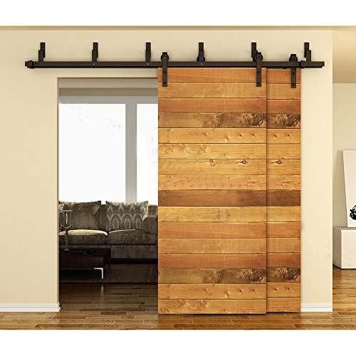 Low Cost Hahaemall Black Steel Bypass Sliding Barn Door Hardware Kit