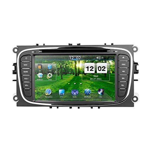 Car DVD Player GPS Navigation Radio Systemr for Ford Focus 7 Inch Digital Touchscreen Bluetooth in-dash Navigation System Support CD, DVD, AUX, SD/USB, FM/AM, MirrorLink Car Stereo Multimedia Player