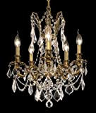 Elegant Lighting 9205D18FG/RC Rosalia 19-Inch High 5-Light Chandelier, French Gold Finish with Crystal (Clear) Royal Cut RC Crystal